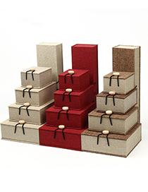 Fashion 24*6.5*4.3 Bracelet Box All White Numb Buckle Box Burlap Wooden Buckle Jewelry Box