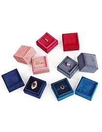 Fashion Pink Ring Box Right Angle Corduroy Jewelry Packaging Box