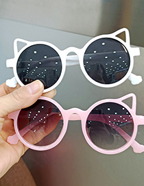 Fashion Real White And Full Gray Cat Ears Uv Protection Childrens Sunglasses