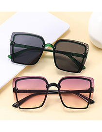 Fashion Real White Gray Flakes Hollow Square Frameless Concave Shape Sunscreen Sunglasses