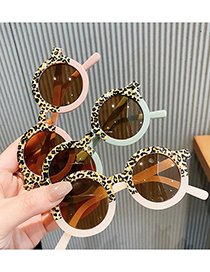Fashion Jelly Powder Leopard Print Round Frame Color Matching Childrens Sunglasses