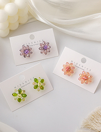 Fashion Green Colorful Crystal Flower Earrings