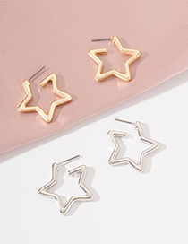 Fashion Gold Color Star Alloy Stud Earrings