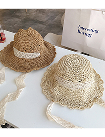 Fashion Beige Folding Straw Hat With Straps And Bow