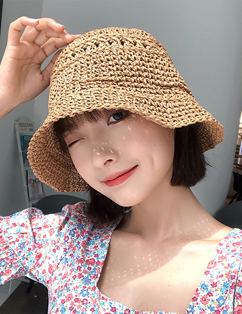 Fashion Blue Woven Sunscreen Straw Hat