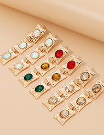 Fashion Color Alloy Diamond Geometric Shape Earrings