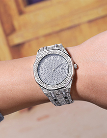 Fashion Silver Color Octagonal Dial With Gypsophila And Rhinestone Steel Band Watch