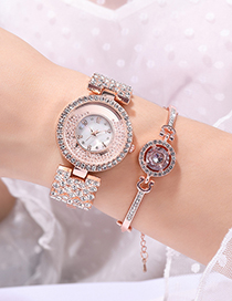 Fashion Silver Color Quartz Steel Band Watch With Diamond Metal Chain