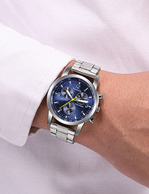 Fashion Blue Surface Three-eye Six-hand Steel Band Quartz Watch
