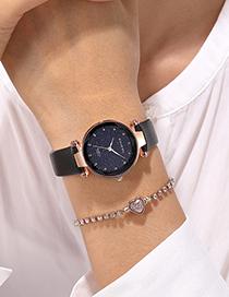 Fashion Gray Gypsophila Glitter Thin Strap Watch