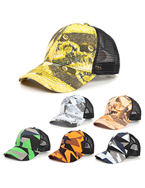 Fashion Triangle Orange Camouflage Broken Painted Graffiti Tie-dye Baseball Cap