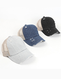 Fashion Denim Dark Blue Denim Cross Ragged Peaked Cap