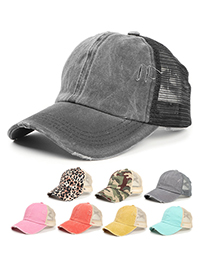 Fashion Orange Leopard Frayed Camouflage Mesh Baseball Cap