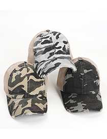 Fashion Army Green Cross Camouflage Hole Baseball Cap