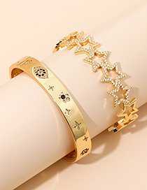 Fashion Golden Alloy Diamond Eye Bracelet