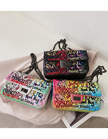 Fashion White Chain Graffiti One-shoulder Messenger Bag