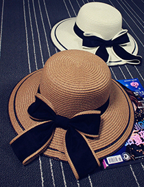 Fashion Khaki Sunscreen Straw Hat With Big Eaves Bow