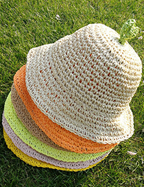 Fashion Khaki Childrens Sunscreen Hand-woven Straw Hat