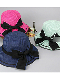 Fashion Blue Sunscreen Woven Straw Hat With Big Bow And Big Edge Parent-child Model (adult Model)