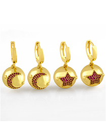 Fashion Five-pointed Star Star Moon Earrings