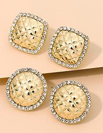 Fashion Square Alloy Diamond Checkered Geometric Shape Earrings