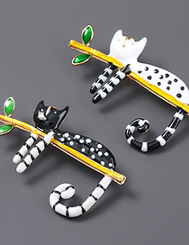 Fashion White Cat Alloy Dripping Cat Brooch