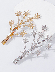 Fashion Golden Gypsophila Diamond Geometric Alloy Hairpin