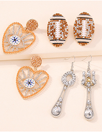 Fashion Tableware Alloy Diamond Cutlery Earrings