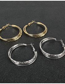 Fashion Golden Alloy Geometric Round Earrings