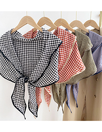 Fashion 13 Small Grid Yellow Plaid Cotton And Linen Knitted Diamond-shaped Knotted Shawl