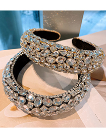 Fashion Champagne Gold Diamond Thickened Sponge Rhinestone Zircon Headband