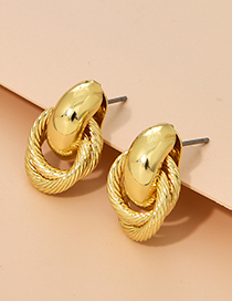 Fashion Gold Color Alloy Ring Pattern Stud Earrings
