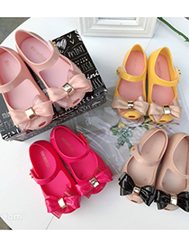 Fashion Pink Childrens Two-tone Bow Sandals