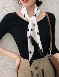 Fashion D-black Printed Imitation Silk Satin Scarf