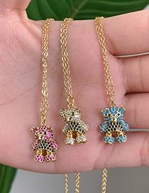 Fashion Blue Copper Inlaid Zircon Bear Necklace
