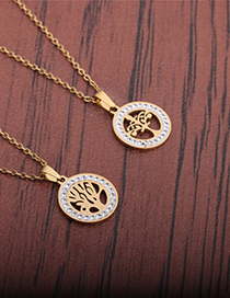 Fashion Section 1 Zircon Inlaid Stainless Steel Tree Of Life Necklace