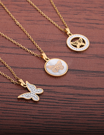 Fashion White Butterfly Inlaid Zirconium Shell Necklace