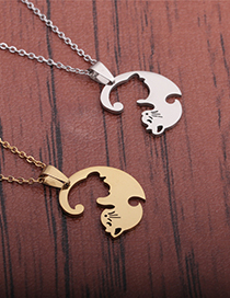 Fashion Gold Color Stainless Steel Cat Necklace