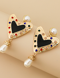 Fashion Golden Alloy Diamond Pearl Love Stud Earrings