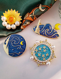 Fashion Yellow Van Gogh Oil Painting Star And Moon Sunflower Alloy Brooch