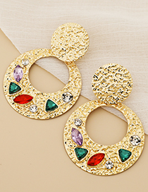 Fashion Color Alloy Diamond Hollow Round Stud Earrings