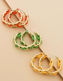 Fashion Orange Alloy Pu Chain Circle Earrings