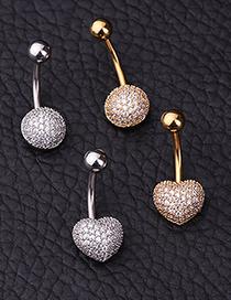 Fashion Golden Heart Stainless Steel Micro-inlaid Zircon Peach Heart Round Belly Button Nail