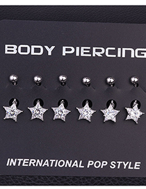 Fashion White Stainless Steel Inlaid Zircon Five-pointed Star Belly Button Nail