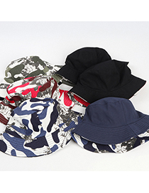 Fashion Rose Red And White Camouflage Double-sided Foldable Sun Hat