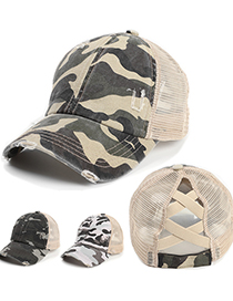 Fashion Army Green Cross Camouflage Hole Thin Baseball Cap