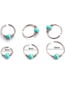 Fashion Blue 10mm Piercing Turquoise Winding Stainless Steel Nose Nail