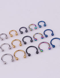 Fashion Steel Color Stainless Steel Piercing Ball C-shaped Nose Ring