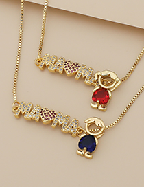 Fashion Red Copper Inlaid Zircon Letters Mama Girl Necklace