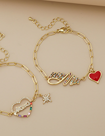 Fashion Golden Copper Inlaid Zircon Letters Mama Love Bracelet